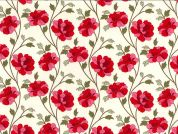 Floral Print Cotton Poplin Fabric  Red & Ivory