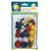 DoCrafts Glitter Craft Pom Poms  Assorted Colours