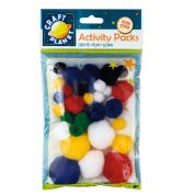 DoCrafts Acrylic Craft Pom Poms  Assorted Colours