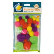 DoCrafts Neon Craft Pom Poms  Bright Assorted Colours