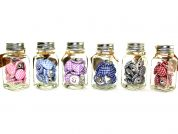 Gingham Fabric Covered Round Buttons in Jars  Assorted Colours