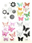 Embossed Flower & Butterfly Embellishments