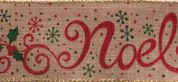 Glitter Natural Noel Christmas Print Ribbon