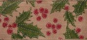 Glitter Holly Christmas Print Ribbon