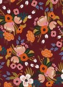 Cotton and Steel Rayon Fabric  Burgundy