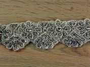 55mm Heavy Crystal Diamante Couture Bridal Lace Trimming  Silver