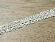 25mm Pearl & Beaded Couture Bridal Lace Trimming  Ivory