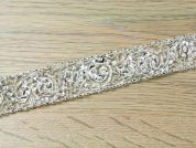 28mm Crystal Edging Couture Bridal Lace Trimming  Silver