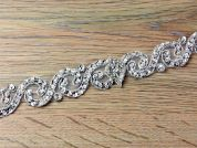 25mm Crystal Edging Couture Bridal Lace Trimming  Silver