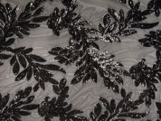 Sequin Lace Tulle Fabric  Black
