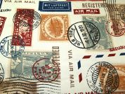 Airmail Stamps Print Cotton Canvas Fabric  Multicoloured