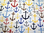 Anchors Nautical Print Cotton Canvas Fabric  Multicoloured on White