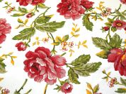 Bloom Floral Print Cotton Canvas Fabric  Multicoloured