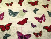 Butterfly Print Cotton Canvas Fabric  Multicoloured