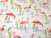 Flamingo Print Cotton Canvas Fabric  Multicoloured