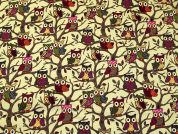 Forest Owls Print Cotton Canvas Fabric  Multicoloured