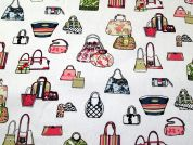 Handbags Print Cotton Canvas Fabric  Multicoloured on White