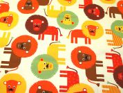 Lions Print Cotton Canvas Fabric  Multicoloured