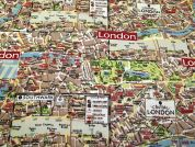 London Map Print Cotton Canvas Fabric  Multicoloured