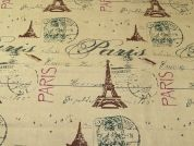 Paris Print Cotton Canvas Fabric  Beige