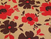 Poppy Print Cotton Canvas Fabric  Red