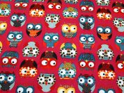 Owls Print Cotton Canvas Fabric  Multicoloured on Pink