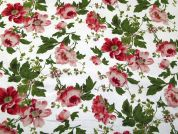 Victoria Rose Print Cotton Canvas Fabric  Pink, Green & White