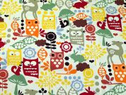 Woodland Print Cotton Canvas Fabric  Multicoloured