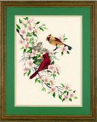 Dimensions Crewel Embroidery Kit Cardinals in Dogwood