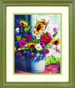 Dimensions Crewel Embroidery Kit Bucket of Flowers