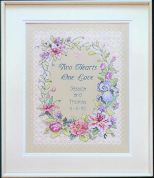 Dimensions Stamped Cross Stitch Kit Two Hearts Wedding Record