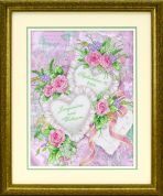 Dimensions Stamped Cross Stitch Kit Two Hearts United Wedding Record