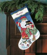 Dimensions Counted Cross Stitch Kit Stocking, Santa & Snowman