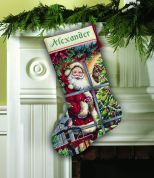 Dimensions Cross Stitch Kit Stocking, Candy Cane Santa