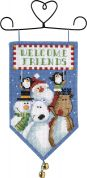 Dimensions Counted Cross Stitch Banner Kit Santa & Friends