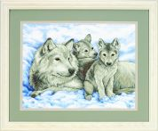 Sunset Stamped Cross Stitch Kit Mother Wolf & Pups