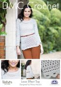 DMC Ladies Lace Effect Top Natura Crochet Pattern  4 Ply