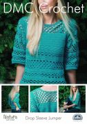 DMC Ladies Drop Sleeve Jumper Natura Crochet Pattern  4 Ply
