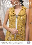 DMC Ladies Scalloped Edge Top Natura Crochet Pattern  Super Chunky