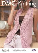 DMC Ladies Cable Effect Gilet Natura Knitting Pattern  Super Chunky