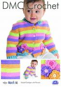 DMC Baby Striped Cardigan with Flowers Natura Crochet Pattern  Aran