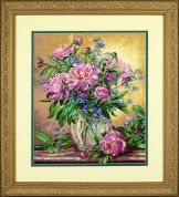 Dimensions Counted Cross Stitch Kit Peonies & Canterbury Belss