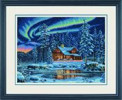Dimensions Counted Cross Stitch Kit Aurora Cabin