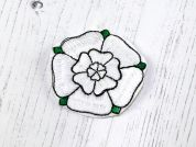 County Yorkshire Rose Motifs  White