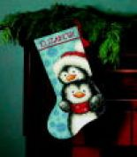 Dimensions Needlepoint Kit Stocking Hugging Penguins