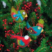 Dimensions Felt Applique Stitching Ornament Kit Whimsical Birds
