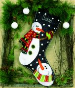 Dimensions Feltworks Stitch Applique Kit Snowmen Stocking