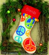 Dimensions Feltworks Stitch Applique Kit Peace Signs Stocking