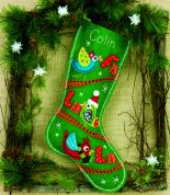 Dimensions Feltworks Stitch Applique Kit Fa La La Birds Stocking