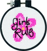 Dimensions Learn A Craft Counted Cross Stitch Kit Girls Rule